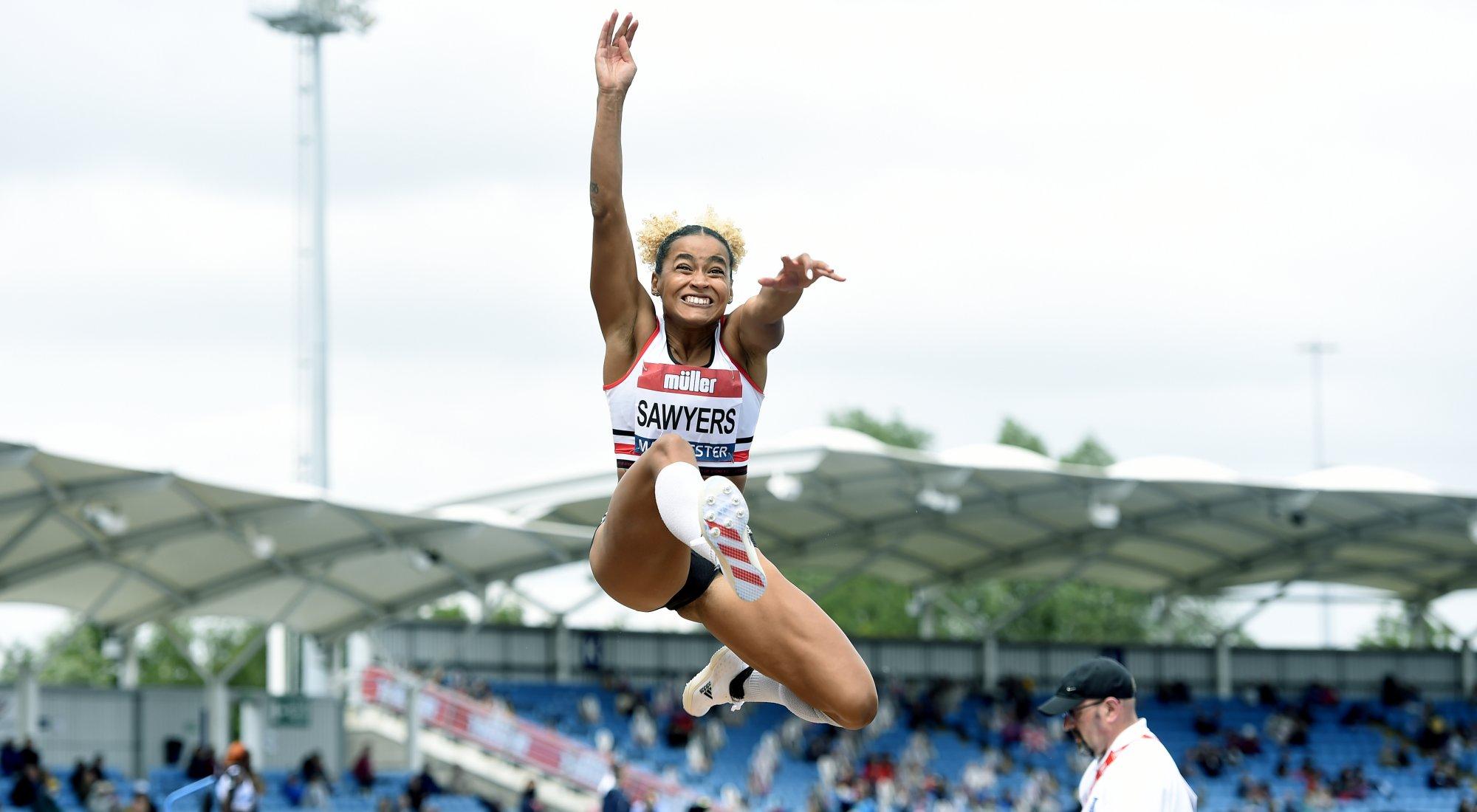Jazmin Sawyers long jump British Champs 2021