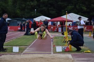 Lucy Hadaway competing in the long jump at the England U20/U23 Track and Field Championships 2021 in Bedford